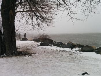 Foggy view of Haverstraw Bay during a January winter storm
