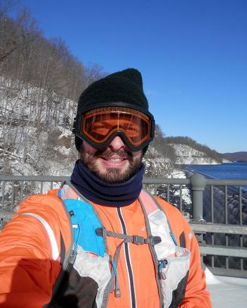 Bitter cold and wind means fleece headgear and goggles for me