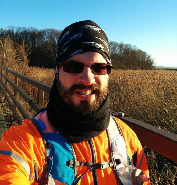 Selfie in early winter late day sunlight