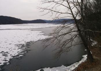 New Croton Reservoir, mostly frozen over