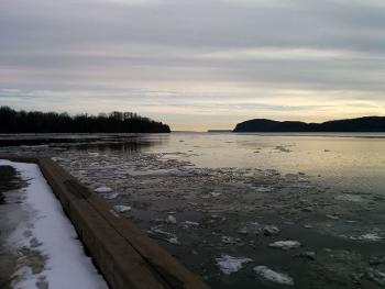 An icy Hudson River viewed from Croton Point Park