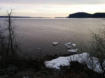 Southern view from very tip of Croton Point Park. Tappan Zee Bridge (new and old) in the distance.