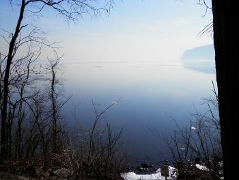 View from the point of Croton Point Park, the distant Tappan Zee Bridge hidden in haze.