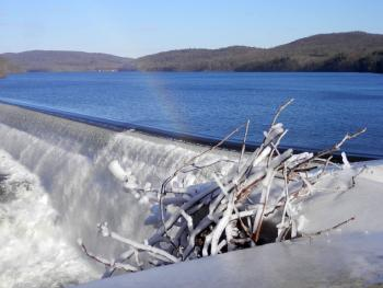 Croton Dam, spillway misty enough for rainbow and frost everywhere.