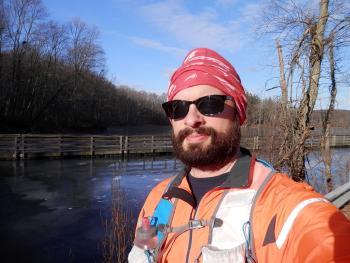 Selfie along somewhat frozen lake at Teatown.