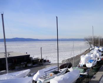 Generously frozen Hudson River viewed from the pedestrian bridge.