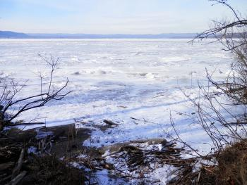 Very frozen Hudson River at Haverstraw Bay.