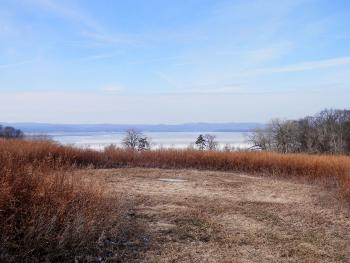 View of Haverstraw Bay from hilltop at Croton Point Park.
