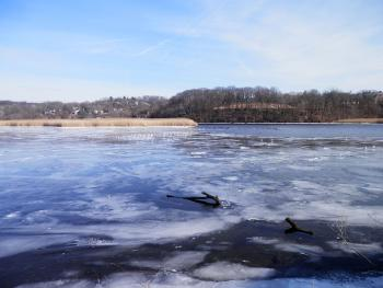 Somewhat frozen conjunction of Croton and Hudson rivers.