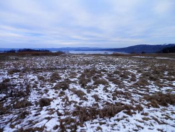 Somewhat snowy view of Haverstraw Bay from hilltop at Croton Point Park.