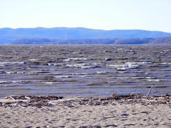 Choppy Haverstraw Bay at beach in Croton Point Park.