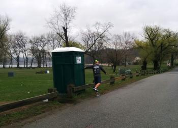 Nice run with friend Dave. Portable bathrooms have many uses, ha.