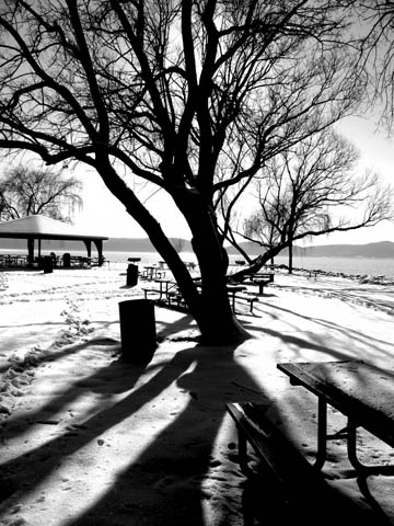 Winter river snow shadows (2008), black and white. © 2013 Peter Wetzel.