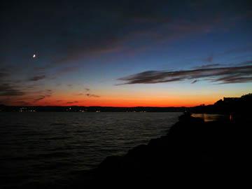 Moon over river sunset. © 2016 Peter Wetzel.