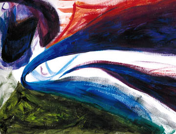 Two Paths (acrylic). Abstract art, also known as playing around with newly purchased paints. © 2016 Peter Wetzel.