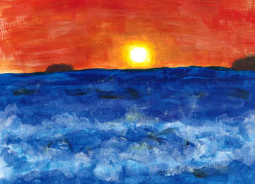 Rough Ocean Sunset (acrylic). Based on photo provided by my friend Kelly Terry. © 2017 Peter Wetzel.